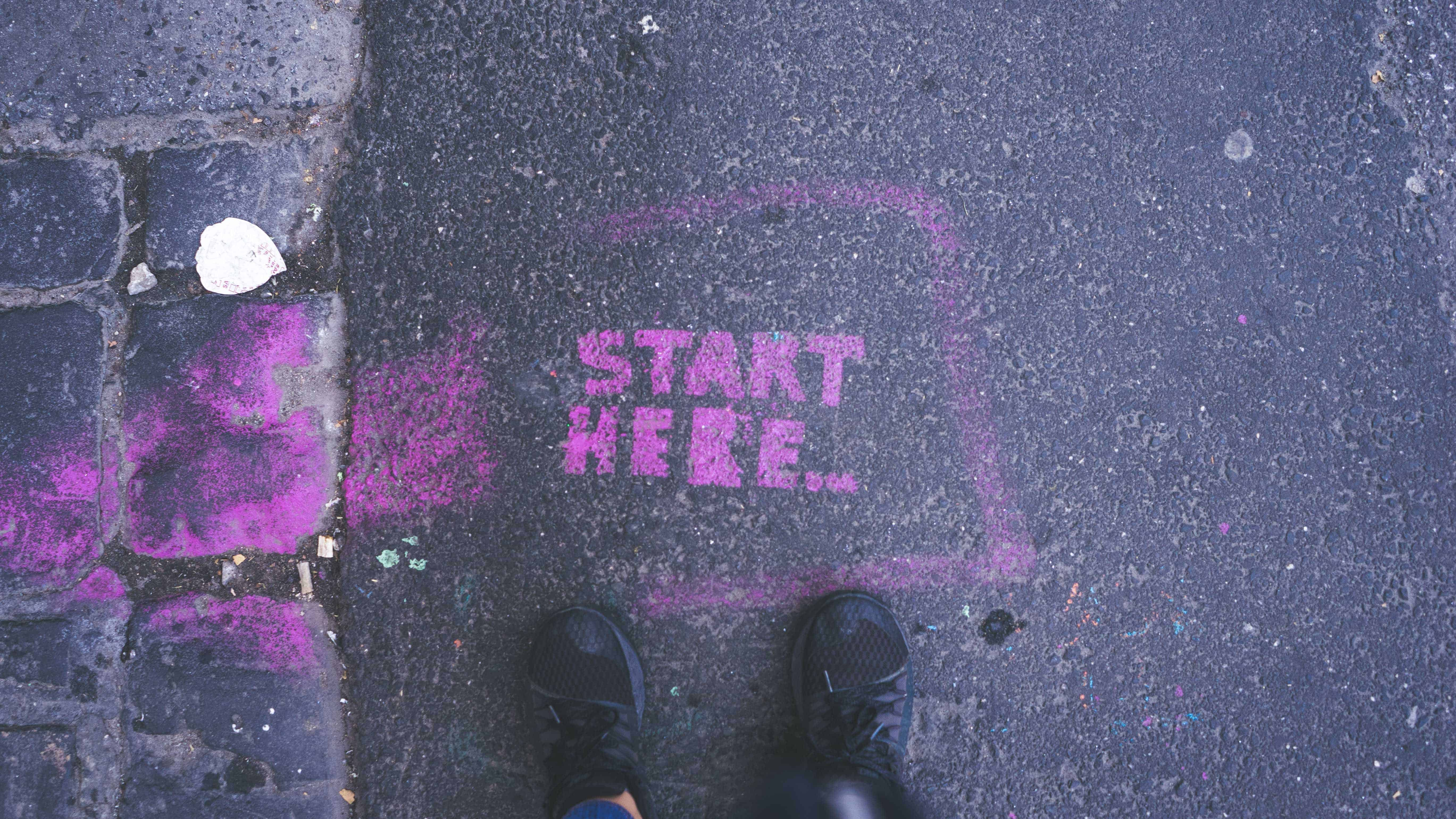 pink Star Here text